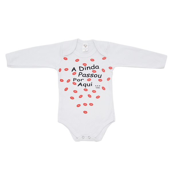 Body Bebê De Frase Beijinho Branco Frente