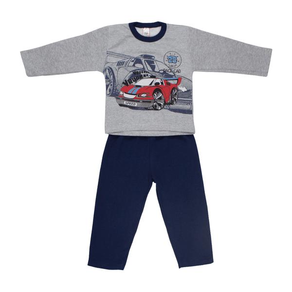Conjunto Infantil De Moletom Race Car Mescla e Preto Cleomara
