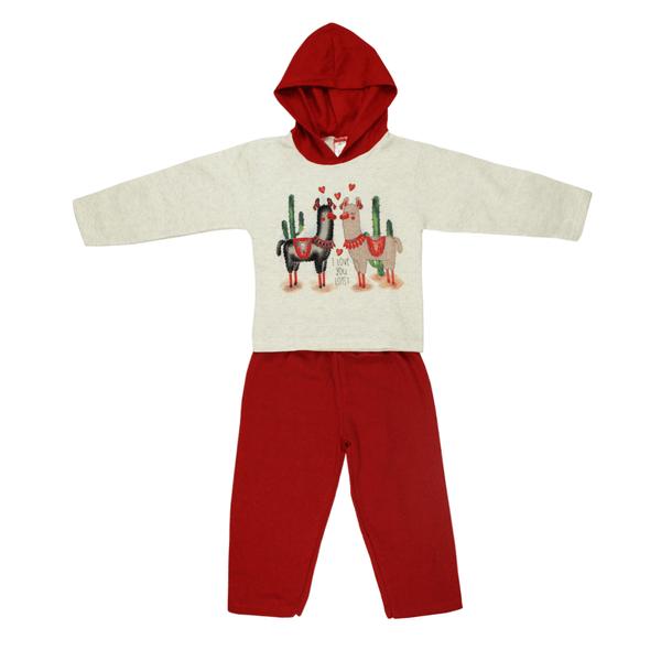 Conjunto Infantil De Moletom Com Capuz Ilhama Mescla e Vermelho Cleomara