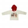 Blusão Infantil De Moletom Com Capuz Ilhama Mescla e Vermelho Cleomara