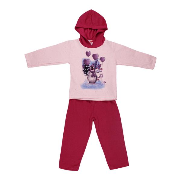 Conjunto Infantil De Moletom Com Capuz Pinguim Rosa e Pink Cleomara