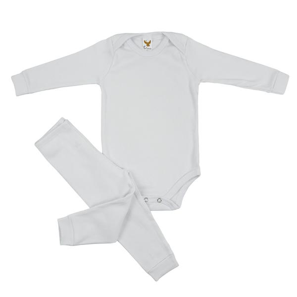 Conjunto Bebê Body e Calça Pagão Envelope Branco Frente C. Canaã