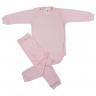 Conjunto Bebê Body e Calça De Poliéster Rosa