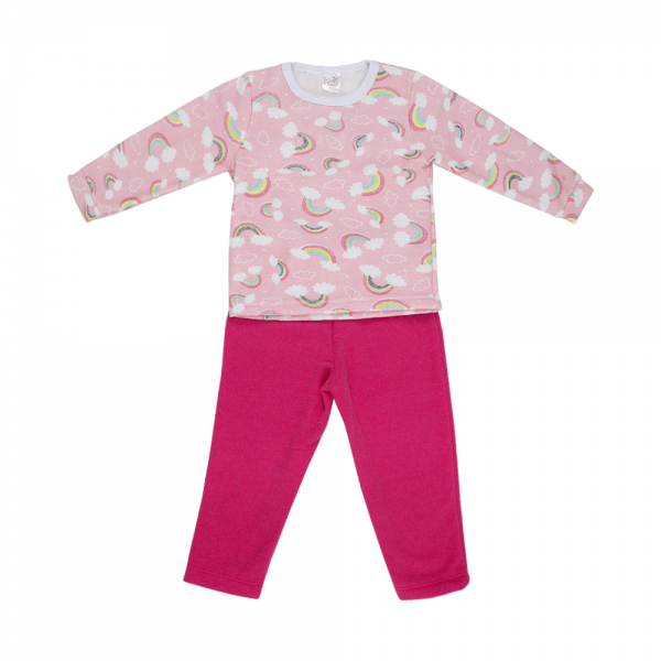 Conjunto Infantil De Boucle Peluciado Blusa e Calça Arco-íris Pink C Canaã