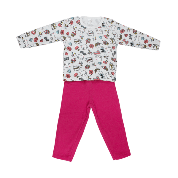 Conjunto Infantil De Boucle Peluciado Blusa e Calça Gatinha Pink C Canaã