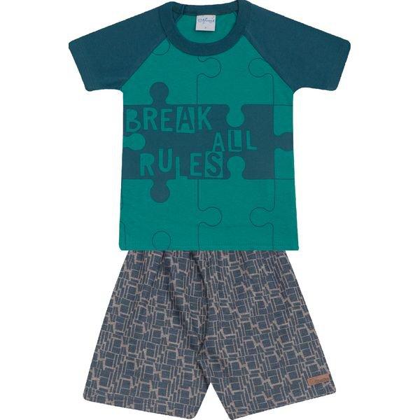 Conjunto Infantil Camisa e Bermuda Verde e Chumbo Wilbertex