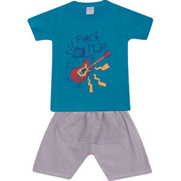 Conjunto Infantil Camisa e Bermuda Turquesa Wilbertex