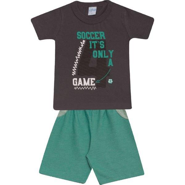 Conjunto Infantil Camisa e Bermuda Chumbo e Verde  Wilbertex