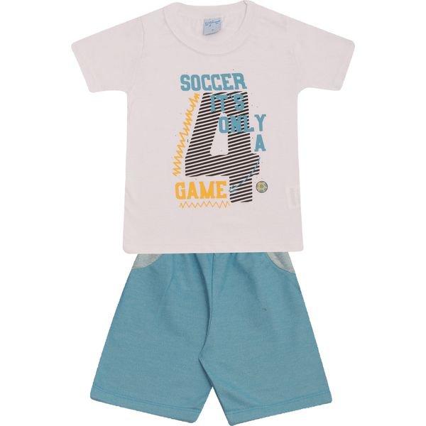 Conjunto Infantil Camisa e Bermuda Branco e Azul Wilbertex