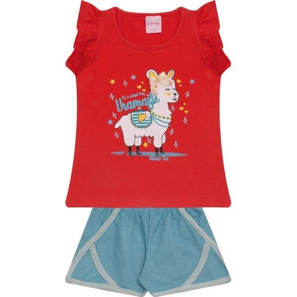 Conjunto Infantil Blusa e Shorts De Moletinho Vermelho e Jeans Azul Wilbertex