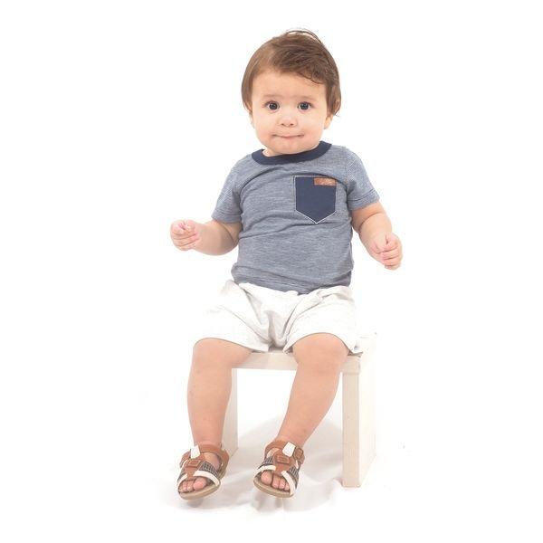 Conjunto Bebê Camisa e Bermuda De Moletinho Marinho e Mescla Wilbertex