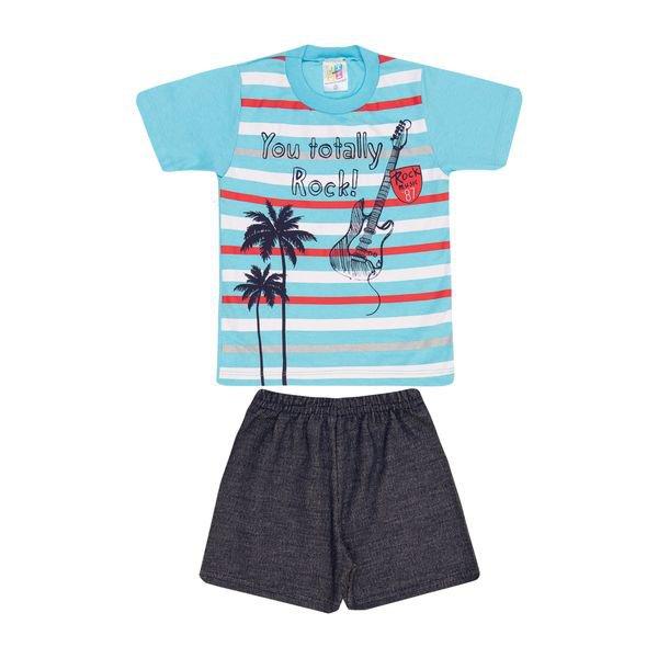 Conjunto Infantil Camisa e Bermuda Turquesa e Marinho Jidi