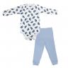 Conjunto Bebê Body e Calça Pagão Estampado Pinguim Azul C. Canaã
