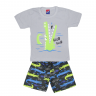 Conjunto Infantil Camiseta e Bermuda Jacaré Cinza Alemara