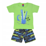 Conjunto Infantil Camiseta e Bermuda Jacaré Verde Alemara