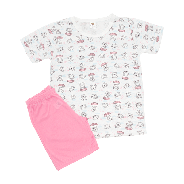 Pijama Infantil Shorts e Blusa Urso Pérola - C. Canaã