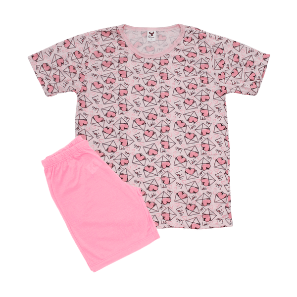 Pijama Infantil Shorts e Blusa Carta Chiclete - C. Canaã