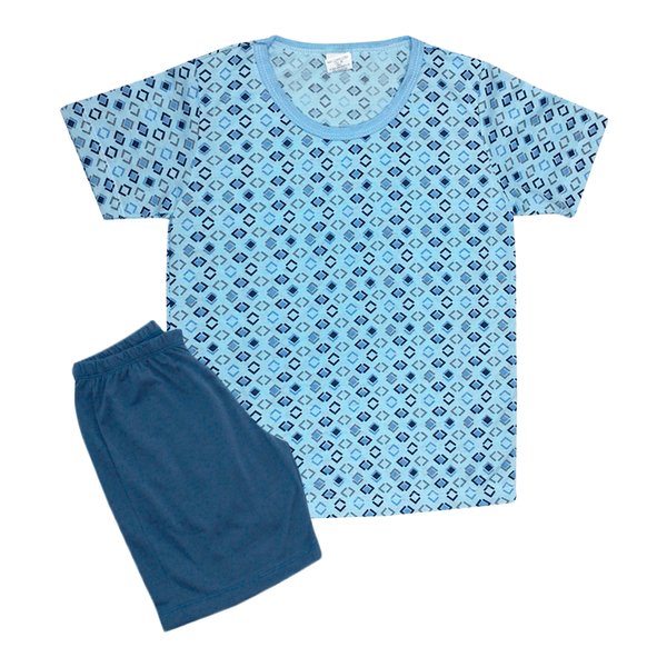 Pijama Infantil Bermuda e Camiseta Geométrico Azul Jeans - C. Canaã