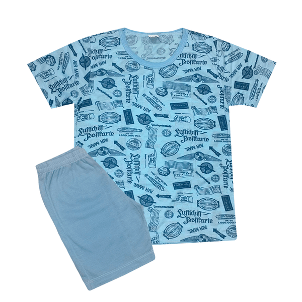 Pijama Juvenil Bermuda e Camiseta Avião Azul - C. Canaã