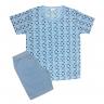 Pijama Juvenil Bermuda e Camiseta Geométrico Azul - C. Canaã