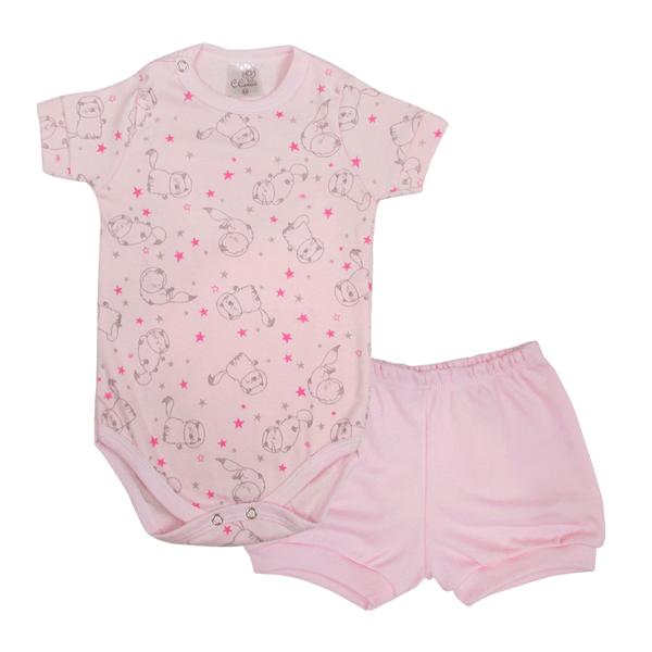 Conjunto Infantil Body e Shorts Pagão Gato Rosa - C. Canaã