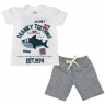 Conjunto Bebê Camisa e Bermuda Branco e Mescla - C. Canaã
