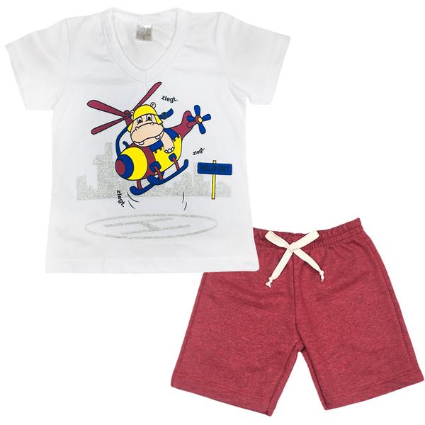 Conjunto Infantil Camisa e Bermuda Branco e Bordo - C. Canaã