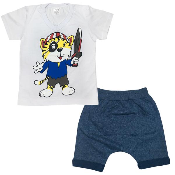 Conjunto Infantil Camisa e Saruel Branco e Marinho - C. Canaã
