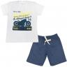 Conjunto Infantil Camisa e Bermuda Branco e Marinho Motor - C. Canaã