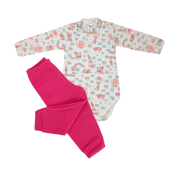 Conjunto Bebê Body e Calça De Boucle Peluciado Girafa Pink C Canaã