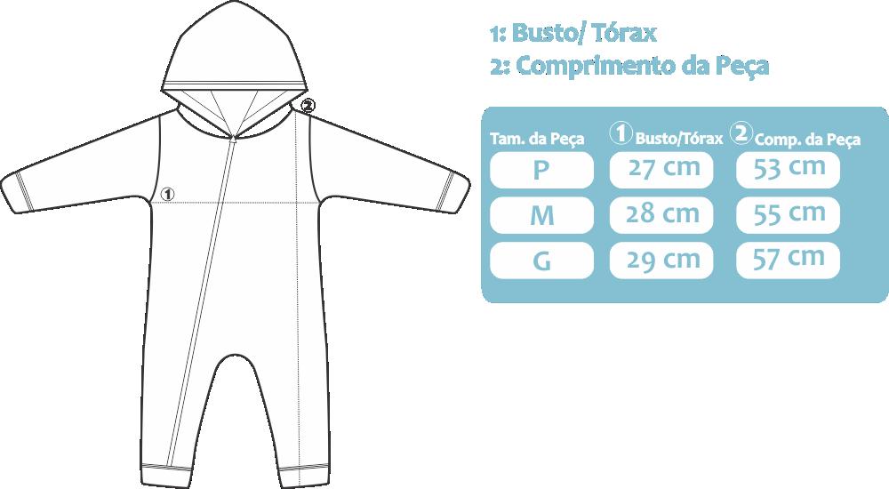 Tabela de medidas macacão kappes bebê