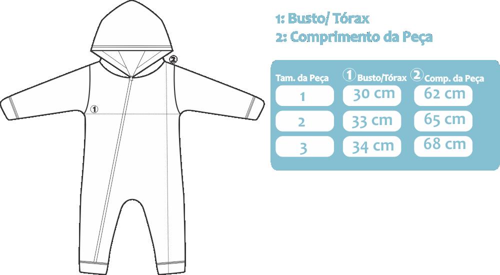 Tabela de medidas macacão kappes infantil