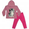 Conjunto Infantil Blusão Com Capuz e Calça De Moletom Gatinha Rosa  - Jidi