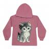 Blusão Infantil De Moletom Com Capuz Gatinha Rosa - Jidi