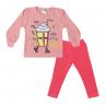 Conjunto Infantil Blusão De Moletom e Calça Milk Shake Rosa - Jidi