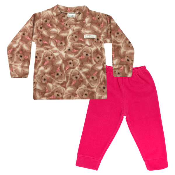 Conjunto Bebê Blusa e Calça De Soft Urso Pink C Canaã