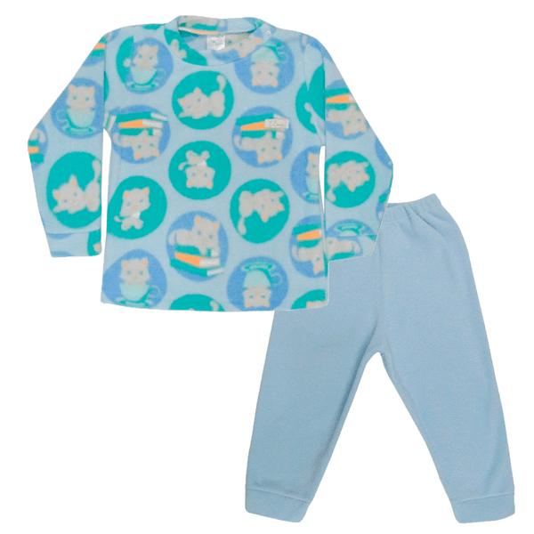 Conjunto Bebê Blusa e Calça De Soft Gato Azul C Canaã