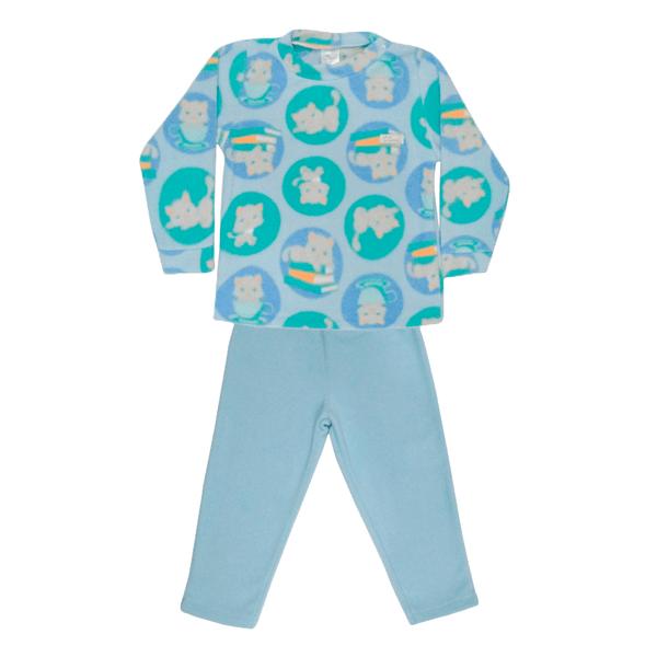Conjunto Bebê De Soft Blusa e Calça Gato Azul - C. Canaã
