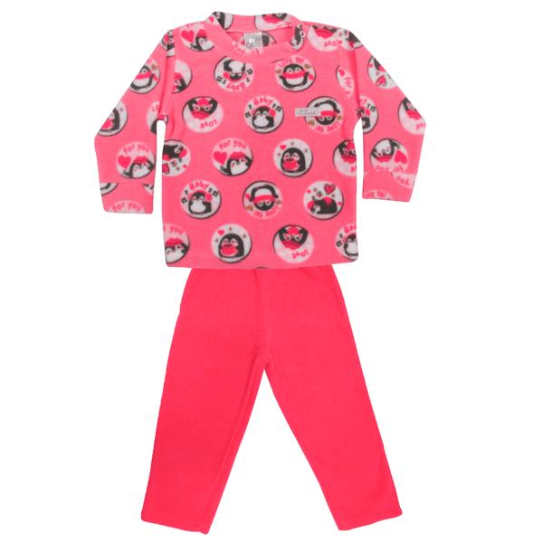 Conjunto Bebê De Soft Blusa e Calça Pinguim Pink - C. Canaã