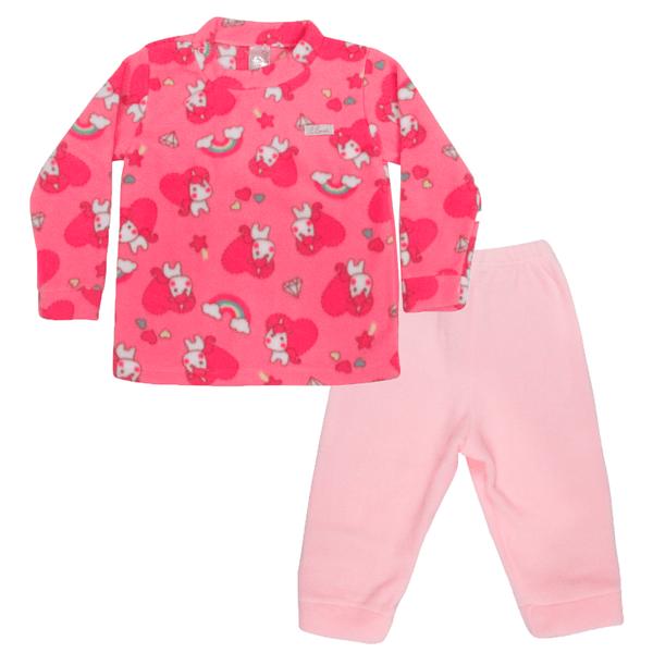 Conjunto Bebê Blusa e Calça De Soft Unicórnio Rosa C Canaã