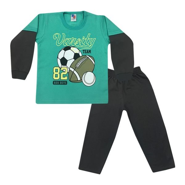 Conjunto Infantil Blusão Manga Sobreposta e Calça De Moletom Verde - Ikiture