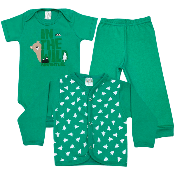 Kit Body Bebê 3 Peças Pagão The Wild Verde Escuro - Dino Kids