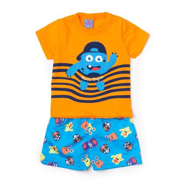 Conjunto Bebê Camisa e Bermuda Monster Laranja - Vestir Com Amor