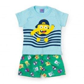 Conjunto Bebê Camisa e Bermuda Monster Azul - Vestir Com Amor