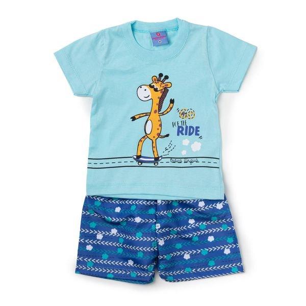 Conjunto Bebê Camisa e Bermuda Girafa Azul - Vestir Com Amor