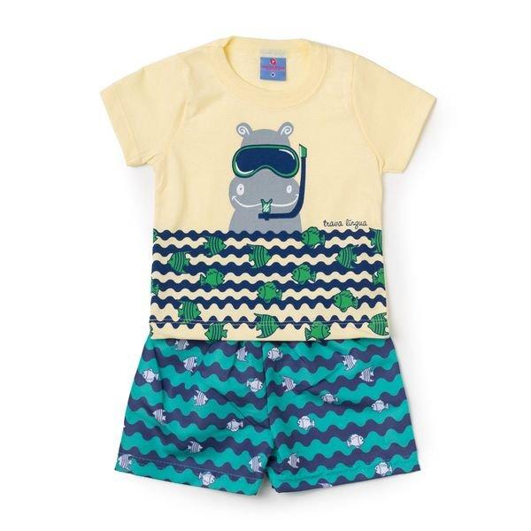 Conjunto Bebê Camisa e Bermuda Hipopótamo Amarelo - Vestir Com Amor