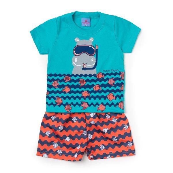 Conjunto Bebê Camisa e Bermuda Hipopótamo Turquesa - Vestir Com Amor