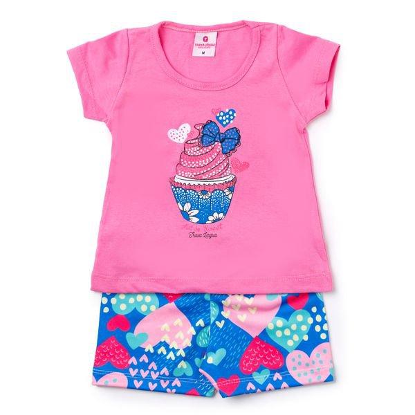 Conjunto Bebê Blusa e Shorts Cupcake Rosa - Vestir Com Amor
