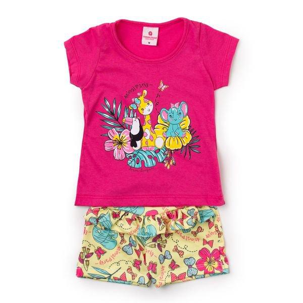 Conjunto Bebê Blusa e Shorts Animal Party Pink - Vestir Com Amor