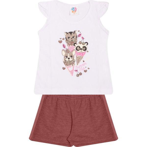 Conjunto Infantil Blusa e Shorts Summer Fun Branco - Wilbertex